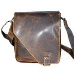 Gewaxt leren tas in de kleur bruin - Arrigo