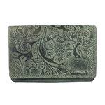 Dames portemonnee van groen rundleer met bloemenprint - Arrigo