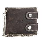 Heren portemonnee met ketting van donkerbruin buffelleer - Arrigo