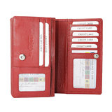Leren RFID harmonica portemonnee, rood - Arrigo