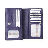 Leren RFID harmonica portemonnee, aubergine - Arrigo