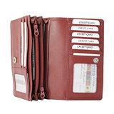 Leren RFID harmonica portemonnee, donkerrood - Arrigo