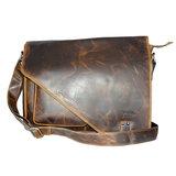 Gewaxt leren messenger bag in de kleur bruin - Arrigo