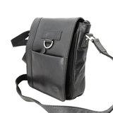 Zwart rundleren schoudertas met klep - Arrigo