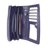 Rundleren RFID harmonica portemonnee met losgeld vak, aubergine - Arrigo
