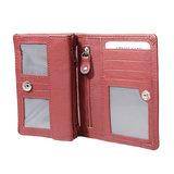 Rundleren RFID harmonica portemonnee met losgeld vakje, donkerrood - Arrigo