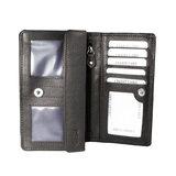 Rundleren harmonica portemonnee met losgeld vak, donkerbruin - Arrigo