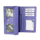 Rundleren RFID harmonica portemonnee met losgeld vak, paars - Arrigo