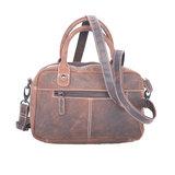 Westernbag van donkerbruin buffelleer, compact model