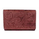 Dames portemonnee van rood rundleer met bloemenprint - Arrigo
