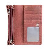 Ruime dames portemonnee van rood leer met bloemenprint_