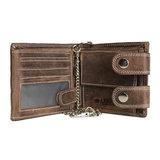 Heren portemonnee met ketting van cognac buffelleer - Arrigo