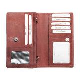 Ruime RFID dames portemonnee van rood leer met een bloemenprint_