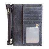 Ruime RFID dames portemonnee van donkerblauw leer met een bloemenprint_