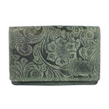 RFID portemonnee van groen rundleer met bloemenprint - Arrigo