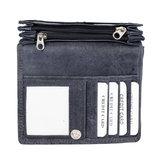RFID portemonnee van donkerblauw rundleer met bloemenprint - Arrigo