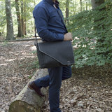 Zwarte messenger tas van echt leer - Arrigo