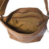 Dames schoudertas crossbody tas van lichtbruin gewassen leer - Arrigo.nl