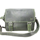 Leren messenger bag groen - Arrigo