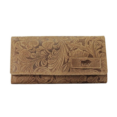 Lederen dames portemonnee met bloemenprint, cognac
