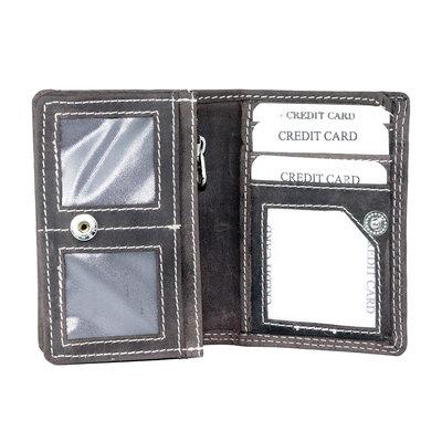 Buffelleren portemonnee met RFID bescherming, donkerbruin