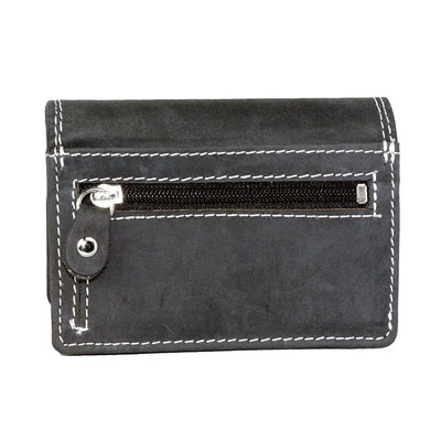 Buffelleren portemonnee met RFID bescherming, zwart