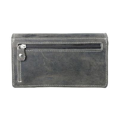 Buffelleren dames portemonnee, donkerbruin, large