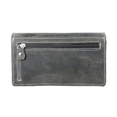 Buffelleren portemonnee met RFID bescherming, donkerbruin, large