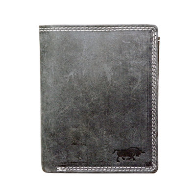 Billfold men's wallet made of buffalo leather in the color black