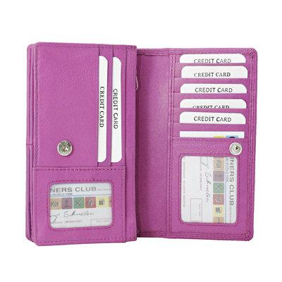 Leren dames portemonnee met RFID-bescherming, roze, large