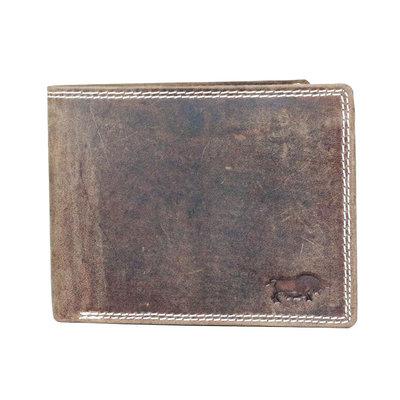 Buffalo wallet with RFID protection with large zip pocket, cognac