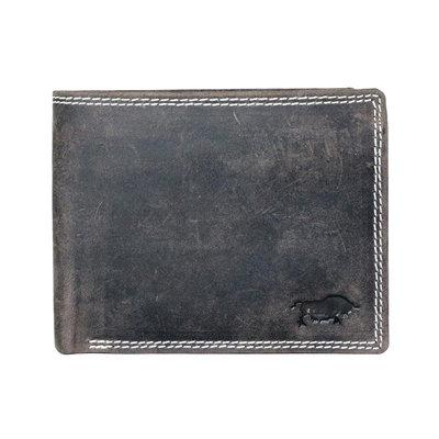 Buffelleren portemonnee met RFID bescherming met groot ritsvak, donkerbruin
