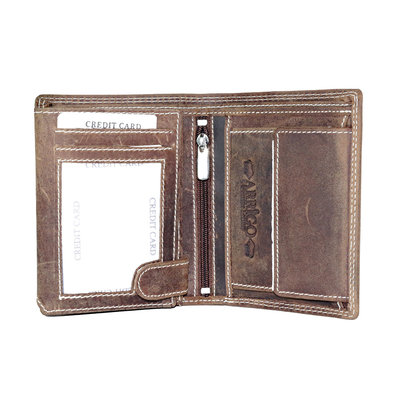 Billfold men's wallet made of buffalo leather in the color cognac