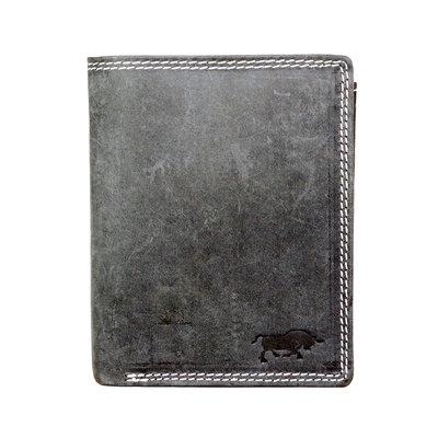 Billfold men's wallet made of black buffalo leather