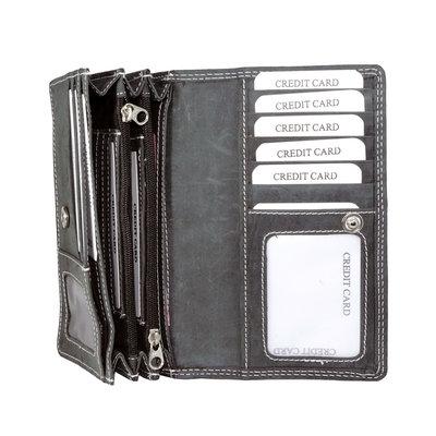 Buffelleren portemonnee met RFID bescherming, zwart, large