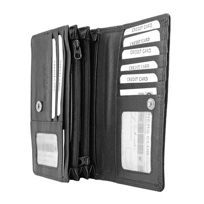 Leren dames portemonnee met RFID-bescherming, zwart, large