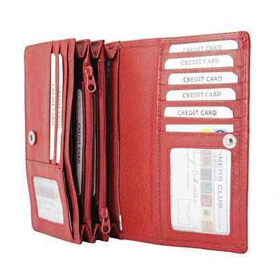 Leren dames portemonnee met RFID-bescherming, rood, large