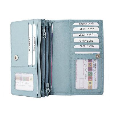 Leren dames portemonnee met RFID-bescherming, lichtblauw, large