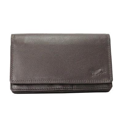 Leren dames portemonnee met RFID-bescherming, donkerbruin, large
