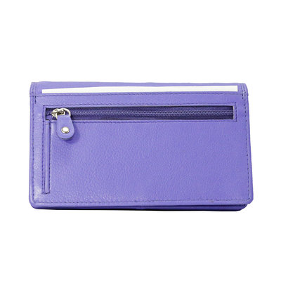 Leren dames portemonnee met RFID-bescherming, paars, large