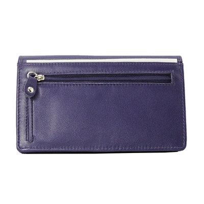 Leren dames portemonnee met RFID-bescherming, aubergine, large