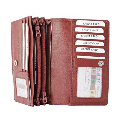 Leren dames portemonnee met RFID-bescherming, donkerrood, large