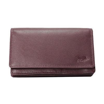 Leren dames portemonnee met RFID-bescherming, bordeauxrood, large