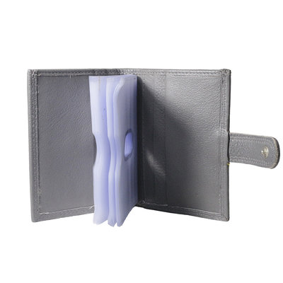 Leren anti skim pasjeshouder mapje in de kleur grijs