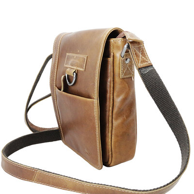 Cognac cowhide leather shoulder bag with flap
