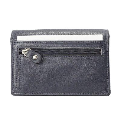 Donkerblauw rundleren RFID portemonnee, medium