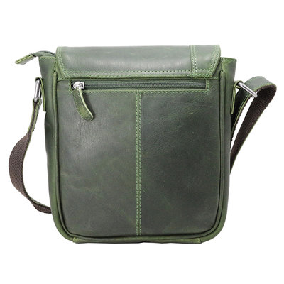 Green cowhide leather shoulder bag with flap