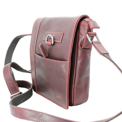 Red cowhide leather shoulder bag with flap