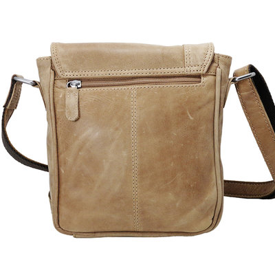 Taupe cowhide leather shoulder bag with flap