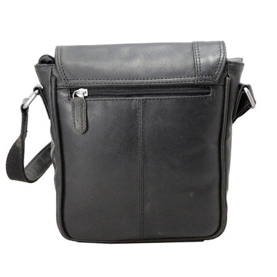 Black cowhide leather shoulder bag with flap
